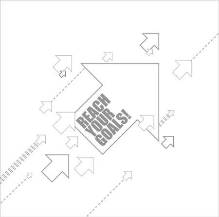 Ilustración de reach your goals multiple arrows following a leader concept, isolated over a white background - Imagen libre de derechos