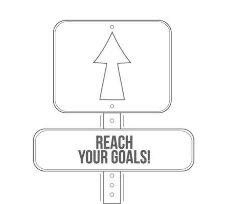 Ilustración de reach your goals line street sign isolated over a white background - Imagen libre de derechos