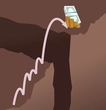 Ilustración de Jumping mountains for cash concept illustration design graphic - Imagen libre de derechos