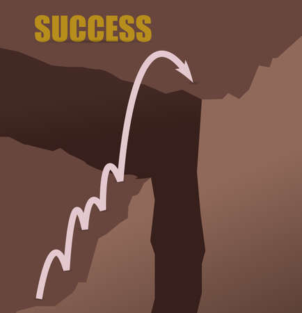 Ilustración de Jumping mountains to achieve success concept illustration design graphic - Imagen libre de derechos