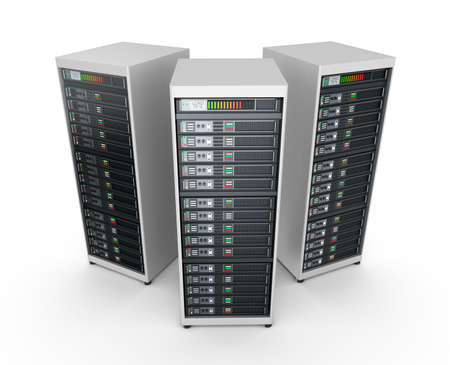 Foto de Network servers in data center isolated on white - Imagen libre de derechos
