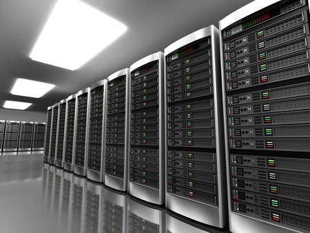 Foto de Modern interior of server room in datacenter - Imagen libre de derechos
