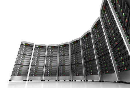 Foto für Row of network servers in data center isolated on white background - Lizenzfreies Bild