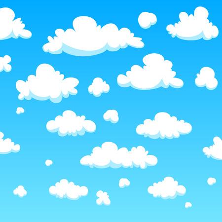 Illustrazione per White cartoon clouds background - Immagini Royalty Free