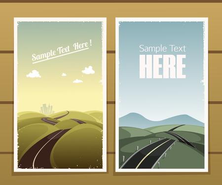 Illustration pour Road retro posters on a wooden surface - image libre de droit