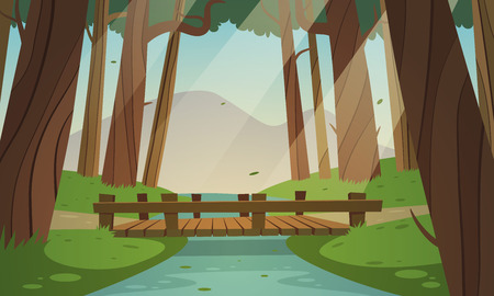 Ilustración de Cartoon illustration of the small wooden bridge in the woods, summer landscape. - Imagen libre de derechos