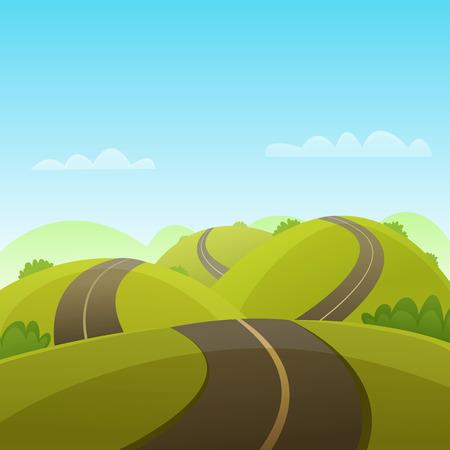 Ilustración de Cartoon illustration of the asphalt road over the hills. - Imagen libre de derechos