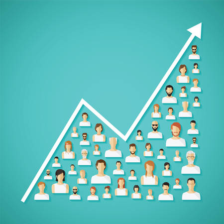 Illustration pour Vector social network population and demography growh concept with flat human icons. - image libre de droit