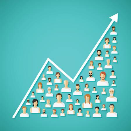 Ilustración de Vector social network population and demography growh concept with flat human icons. - Imagen libre de derechos