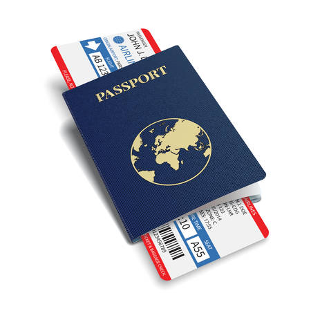 Ilustración de Vector airline passenger and baggage   boarding pass   tickets with barcode and international passport  - Imagen libre de derechos