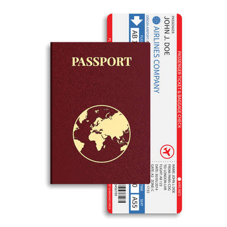 Illustration pour Vector airline passenger and baggage   boarding pass   tickets with barcode and international passport  - image libre de droit