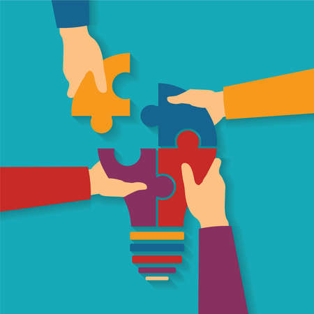 Illustration pour Vector concept of creative teamwork with light bulb puzzle and human hands - image libre de droit