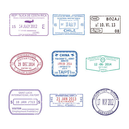 Illustrazione per international business and vacations travel stamps for passport set - Immagini Royalty Free