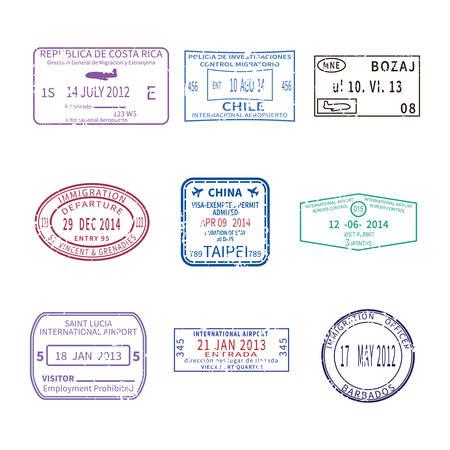 Foto de international business and vacations travel stamps for passport set - Imagen libre de derechos