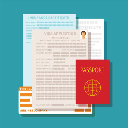 Photo pour Vector concept of documents for visa application set - image libre de droit