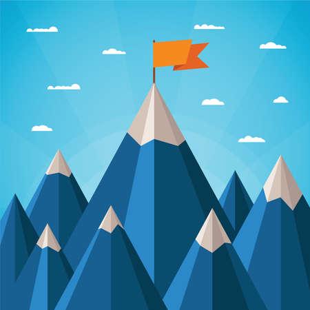 Illustration pour Vector success or leadership concept with mountain landscape - image libre de droit