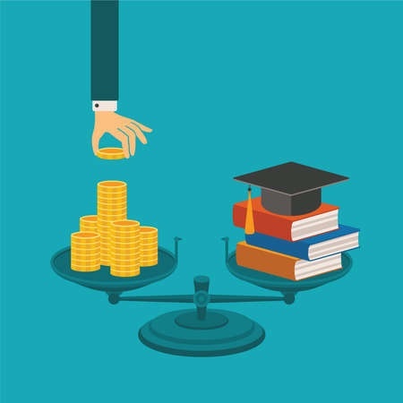 Photo pour concept of investment in education with coins books and scales - image libre de droit