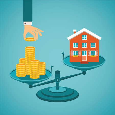 Ilustración de Vector concept of investment in real estate like townhouse - Imagen libre de derechos