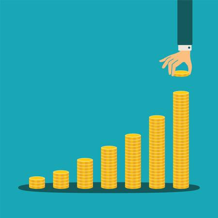 Illustration pour financial growth concept with stacks of golden coins - image libre de droit