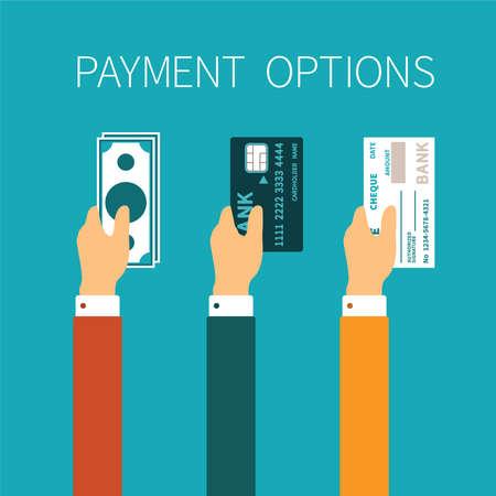 Ilustración de concept of payment options in flat style - Imagen libre de derechos