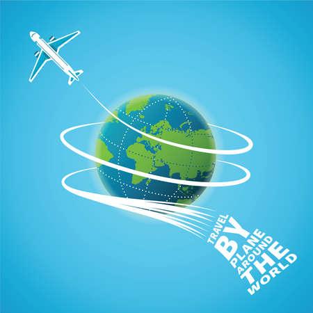 Illustration pour Air travel around the world concept - image libre de droit