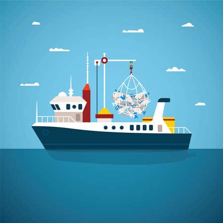 Ilustración de Vector concept of river ocean and sea fishing boat - Imagen libre de derechos