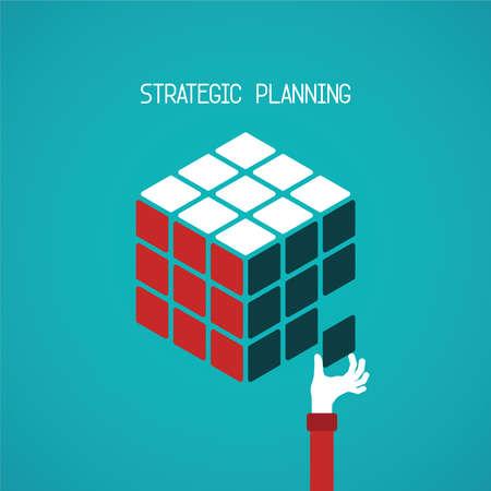 Illustration pour Strategic planning cube concept in flat style - image libre de droit