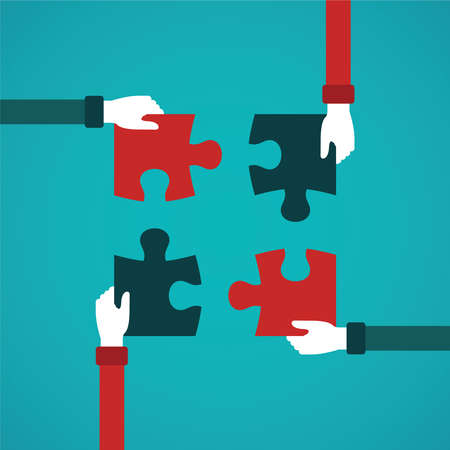 Illustration pour Teamwork abstract vector concept with jigsaw puzzle in flat style - image libre de droit