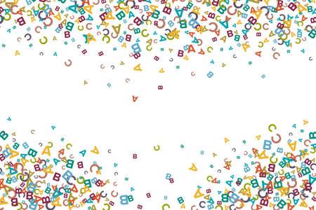 Ilustración de Vector colorful background made from alphabet symbols, letters or characters in flat style - Imagen libre de derechos