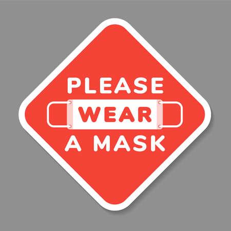 Ilustración de Vector attention sign, please wear face mask, in flat style - Imagen libre de derechos