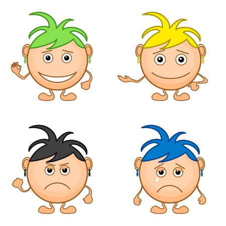 Set of smilies girls with colored hair, symbolising various human emotions.