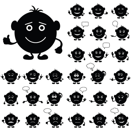 Smilies, set of round black and white characters, symbolising various human emotions