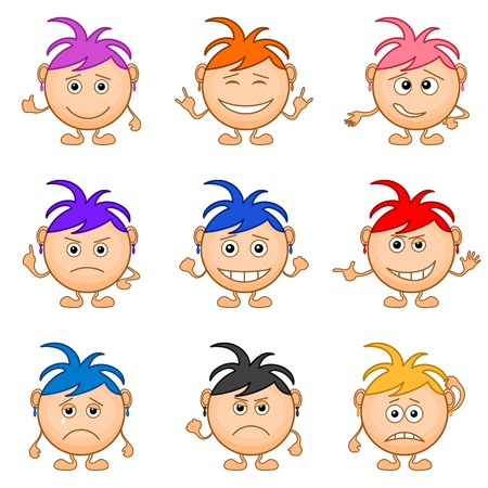 Set of smilies girls with colored hair, symbolising various human emotions