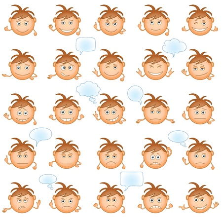 Set of round smilies with brown hair, symbolising various human emotions on white background  Vector