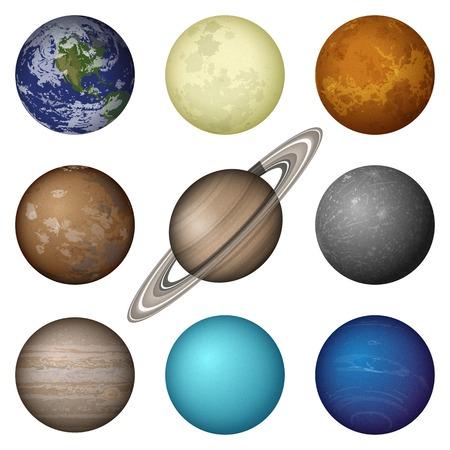 Illustration pour Space set of isolated planets of Solar System - Mercury, Venus, Earth, Mars, Jupiter, Saturn, Uranus, Neptune and Moon.  - image libre de droit