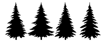Illustration pour Christmas Trees Set, Black Pictogram Isolated on White Background, Winter Holiday Symbols. Vector - image libre de droit