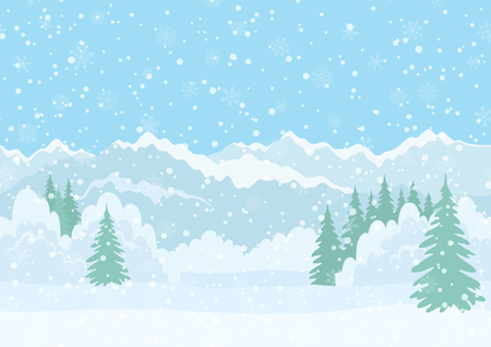 Illustration pour Seamless Horizontal Background, Christmas Holiday Landscape with Snowy Sky, Fir Trees, Snowdrifts and Far Mountains in the Distance. Eps10, Contains Transparencies. Vector - image libre de droit
