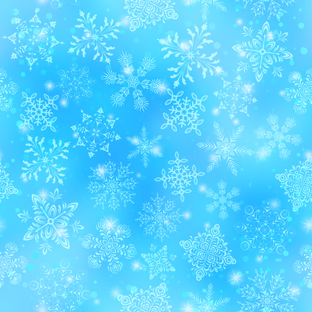 Illustration for Christmas Seamless Background with White Snowflakes and Stars on Blue Sky. Eps10, Contains Transparencies. Vector - Royalty Free Image