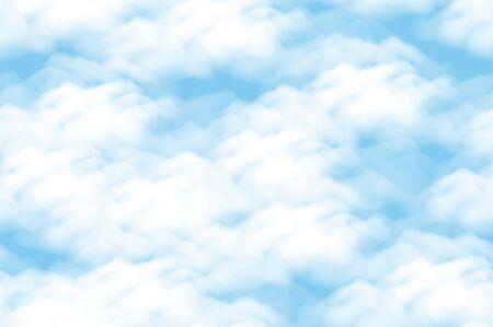 Illustration pour Cloud scape Seamless Background, White Clouds on Blue Sky. - image libre de droit
