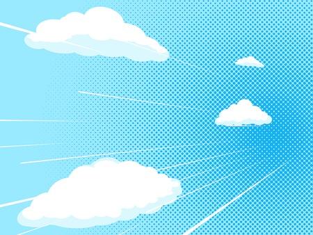 Illustration pour Blue sky comic book pop art halftone texture style vector illustration - image libre de droit