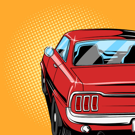 Red car comic book retro pop art style illustration mural