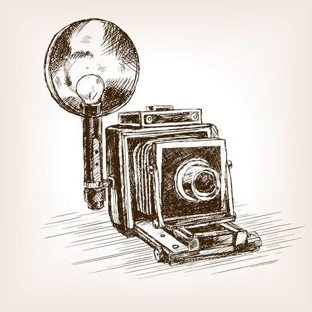 Ilustración de Old photo camera  sketch style vector illustration. Old hand drawn engraving imitation. - Imagen libre de derechos
