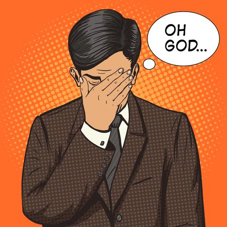 Illustrazione per Businessman with facepalm gesture pop art style vector illustration. Human illustration. Comic book style imitation. Vintage retro style. Conceptual illustration - Immagini Royalty Free