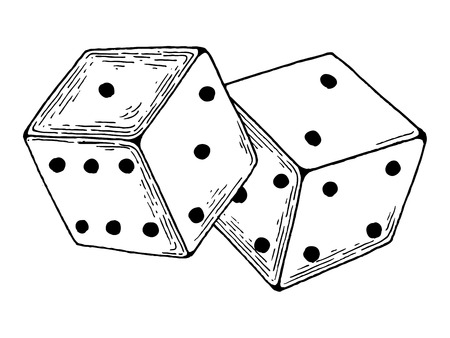 Illustration for Dice game engraving vector illustration - Royalty Free Image