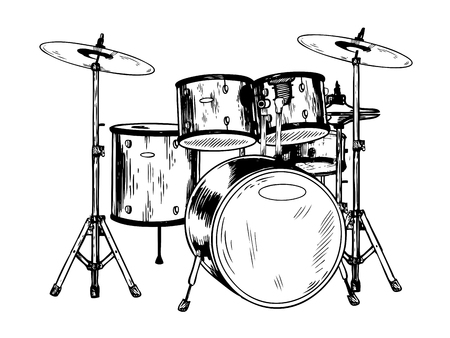 Illustration pour Drum set engraving vector illustration. - image libre de droit