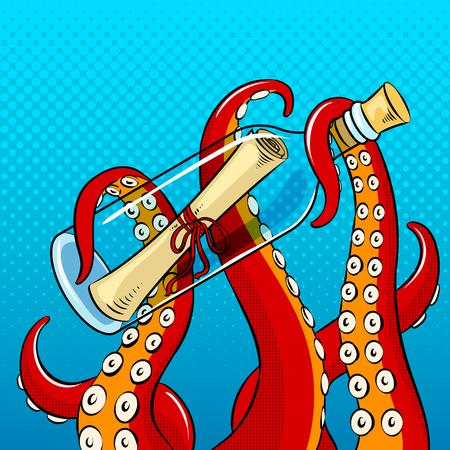 Illustration pour Tentacles of octopus holding a bottle icon. - image libre de droit