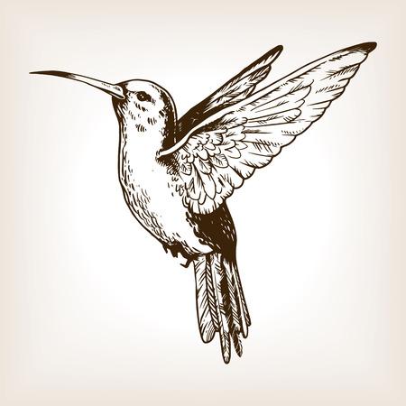 Ilustración de Humming bird engraving vector illustration - Imagen libre de derechos