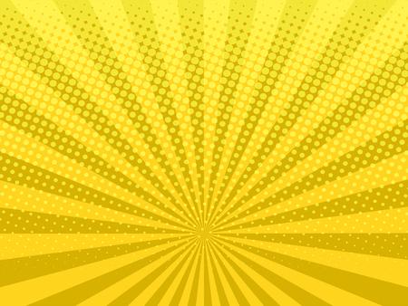 Ilustración de Yellow shining halftone design background retro vector illustration. - Imagen libre de derechos