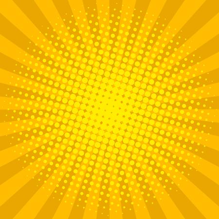 Illustration pour Yellow sun shine halftone design background retro vector illustration. - image libre de droit
