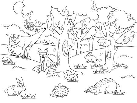 Illustration pour Cartoon forest coloring vector illustration. Black and white image. - image libre de droit